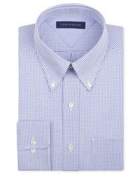 Tommy Hilfiger - Classic-fit Easy Care Blue Check Dress Shirt for Men - Lyst