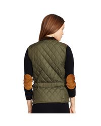 Polo Ralph Lauren - Brown Suede-trim Quilted Vest - Lyst