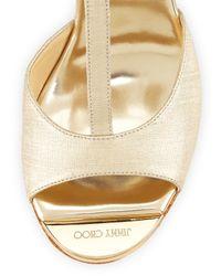 Jimmy Choo | Metallic Pela Leather Wedge Sandal | Lyst