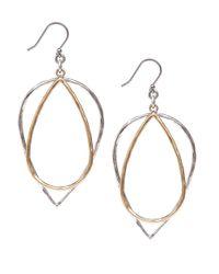 Lucky Brand - Metallic Twotone Double Hoop Earrings - Lyst