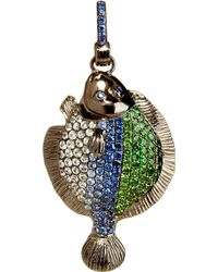 Annoushka | Mythology 18ct White Gold, Rhodium-plated, Sapphire And Green Garnet Lost Flat Fish Charm | Lyst