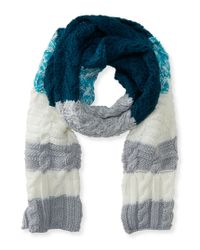 Aéropostale | Blue Cabled Stripe Scarf | Lyst