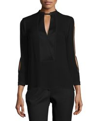 Halston - Black Mandarin Collar Slit-sleeve Silk Blouse - Lyst