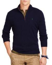Polo Ralph Lauren   Blue Merino Half-zip Sweater for Men   Lyst