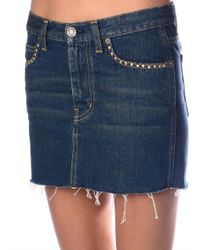 Saint Laurent - Blue Studded Denim Mini Skirt - Lyst