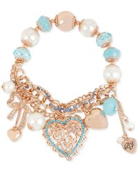 Betsey Johnson | Metallic Rose Gold-tone Heart Charm And Faceted Bead Stretch Bracelet | Lyst