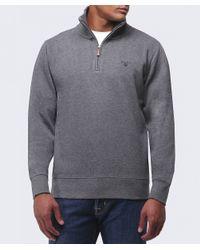 GANT | Gray Sacker Half Zip Rib Knit Jumper for Men | Lyst