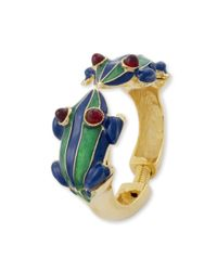 Kenneth Jay Lane | Green And Blue Stripes Frog Bracelet | Lyst