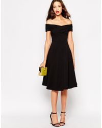 ASOS | Black Tall Skater Dress With Bardot Neckline | Lyst