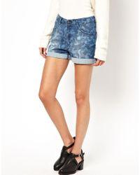 Just Female | Blue Camo Denim Shorts | Lyst