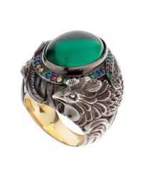 Queensbee | Green Rooster Cocktail Ring Gold | Lyst