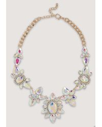 Bebe - Metallic Mix Cut Crystal Necklace - Lyst