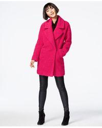Betsey Johnson - Pink Bouclé Asymmetrical Peacoat - Lyst
