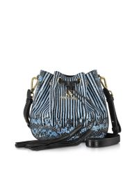 Roberto Cavalli | Drawstring Powder Blue Elaphe Snakeskin Bucket Bag | Lyst