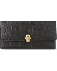 Alexander McQueen | Black Mock-crocodile Leather Skull Wallet | Lyst