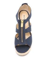 MICHAEL Michael Kors - Blue Damita Wedge Sandals - Lyst