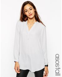 ASOS | Black Collarless Soft Longline Tunic | Lyst