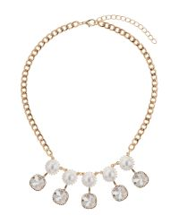 Mikey | Metallic Drop Crystals Pearls Linked Necklace | Lyst