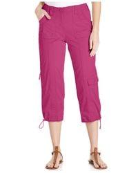 Style & Co. | Pink Petite Cargo Capri Pants | Lyst