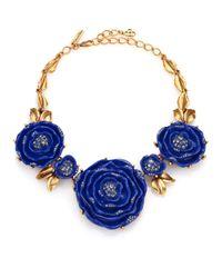 Oscar de la Renta - Blue Rose Statement Necklace - Lyst