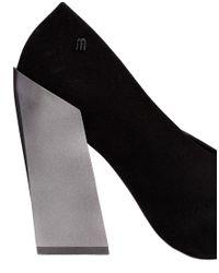 Melissa - Boho Black Flocked Chunky Heeled Shoes - Lyst