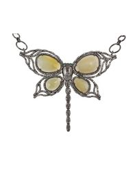 "Bavna | Green Sterling Silver 32"" Butterfly Necklace With Opal, Emerald & Pave Diamonds 