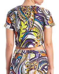 Emilio Pucci - Multicolor Grasshopper Printed Tie-front Cotton Top - Lyst