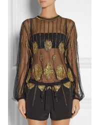 Sass & Bide | Black Zero In Embellished Tulle And Faille Playsuit | Lyst