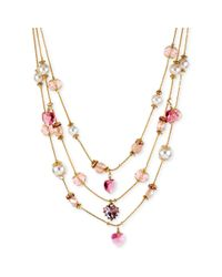Betsey Johnson - Goldtone Pink Crystal Heart And Imitation Pearl Illusion Necklace - Lyst