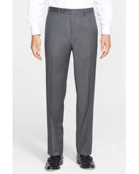Canali | Gray Flat Front Solid Wool Trousers for Men | Lyst
