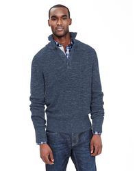 Banana Republic | Blue Ribbed Button-mock Pullover for Men | Lyst