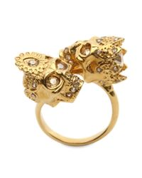 Alexander McQueen | Metallic Queen And King Skull Ring | Lyst