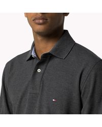 Tommy Hilfiger | Gray Cotton Pique Long Sleeve Polo for Men | Lyst