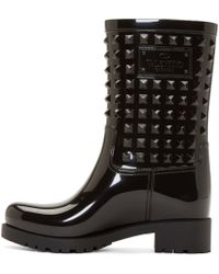 Valentino | Black Studded Rain Boot | Lyst