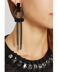 Lanvin | Black Pewter-Plated Crystal Clip Earrings | Lyst