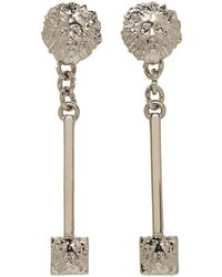 Versus - Metallic Silver Lion Pendant Earrings - Lyst