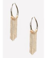 Bebe | Metallic Chain Fringe Hoop Earrings | Lyst