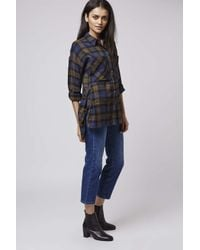 TOPSHOP - Blue Checkered Shirt - Lyst