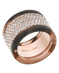 Michael Kors | Metallic Pavé Blush Acetate Ring | Lyst