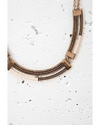 Forever 21 - Pink Cord-wrapped Curve Statement Necklace - Lyst