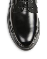 Prada - Black Runway Lug Sole Leather & Nylon Lace-up Boots for Men - Lyst