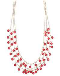 Anne Klein - Red Gold-Tone Siam Three Row Shaky Necklace - Lyst