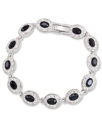 Carolee | Metallic Silver-tone Black Glass Stone Flex Bracelet | Lyst