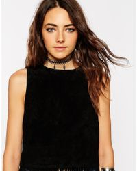 ASOS - Black Leaves Tattoo Choker Necklace - Lyst
