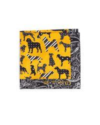 Etro - Yellow Dog-printed Paisley-border Silk Pocket Square for Men - Lyst