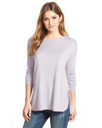 Vince Camuto | Purple Ribbed Sleeve Crewneck Sweater | Lyst