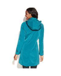 London Fog | Blue Singlebreasted Hooded Raincoat with Plaid Scarf | Lyst