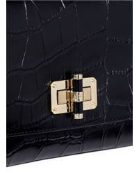 Diane von Furstenberg - Black '440 Gallery Uptown' Croc Embossed Leather Clutch - Lyst