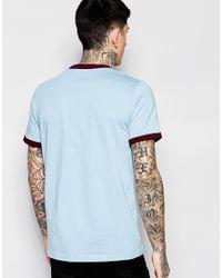 Stussy | Blue Ringer T-shirt With Logo for Men | Lyst