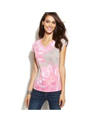 INC International Concepts - Pink Printed Burnout Capsleeve Tee - Lyst
